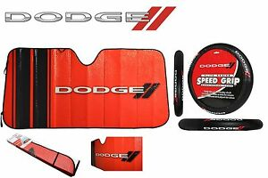 2 Pc Dodge Elite Sun Shade Steering Wheel Cover Combo Windshield Black red