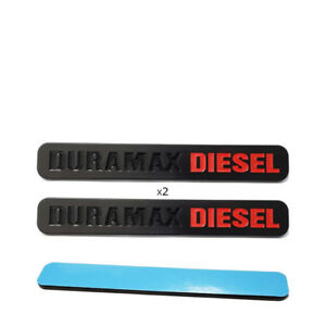Fits 2pc Matte Black Duramax Diesel Emblem Badges Silverado Sierra Door Hood New