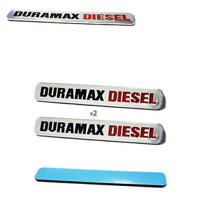 Fits 2pc Chrome Duramax Diesel Emblem Badges Silverado Sierra Door Hood New