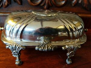 Antique Silverplate Covered Butter Dish Footed Lidded Poole Victorian Eastlake