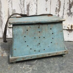 Rarest Ever Primitive French Ferret Box Hunting Ferreting Best Old Blue Paint