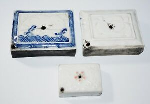3x 19c Chinese Japanese Korean Pottery Water Droppers For Scholars Desk