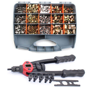 900pcs Riveter Gun Stainless Steel Rivet Nuts Insert Tools Mandrel Kit M3 m10