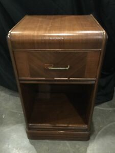 Vintage Late 1930 S Art Deco Waterfall Nightstand Walnut