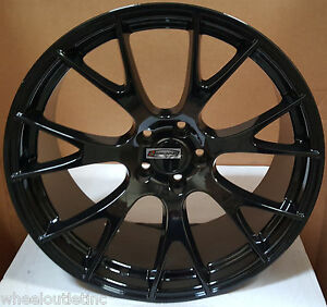 22 Staggered Rims Gloss Black Hellcat Wheels Tires Fit Dodge Challenger Charger
