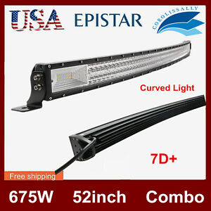 Curved 52 Inch 300w Led Work Light Bar Combo Driving Off Road Suv Car Boat Slim
