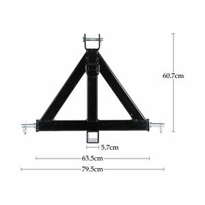 3 Point 2 Receiver Trailer Hitch Category 1 Tractor Tow Drawbar Adapter Black