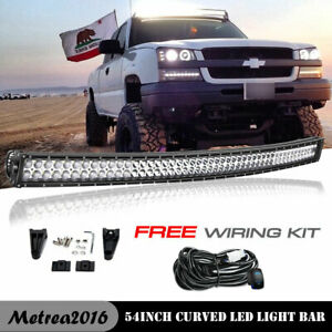 54 Inch 312w Curved Led Light Bar Wire Kit For Chevy Gmc Silverado