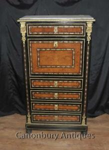 Antique Secretaire Desk French Napoleon Iii Inlaid Cabinet Mother Pearl Inlay