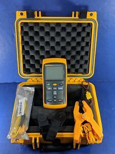 Fluke 52 Ii Thermocouple Thermometer Excellent Screen Protector Case Clamp