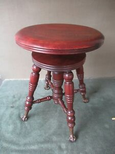 Antique Piano Stool Tonk Co 19 24 Tall Wood Bench Metal Glass Ball Feet Ny