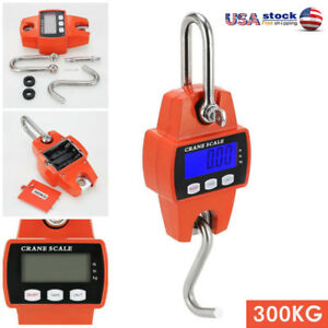 Mini Portable Electronic Crane Scale Lcd Digital Display Hook Hanging 300kg Us
