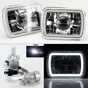 7x6 Clear Projector Glass Ccfl White Halo Headlights 6k 36w Led H4 Bulbs Ford