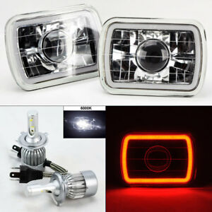 7x6 Clear Projector Glass Ccfl Red Halo Headlights 6k 36w Led H4 Bulbs Chev
