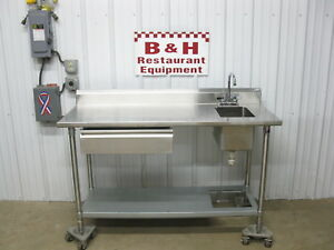 John Boos 60 X 24 Stainless Steel Work Table W 1 One Bowl Hand Sink 5 X 2