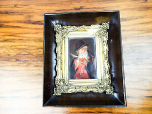 Antique Oil Painting On Porcelain 19th C After Georg Hom German Plaque Miniature