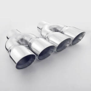 Pair Twin Dual 3 Outlet Angle Cut Round 2 5 Inlet Exhaust Tips Stainless Steel
