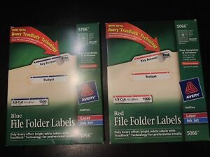 Avery Blue Red File Folder Labels With Trueblock Technology 1500 Each New