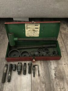 Greenlee No 1804 Ratchet Knockout Punch Driver Set Tons Of Extras