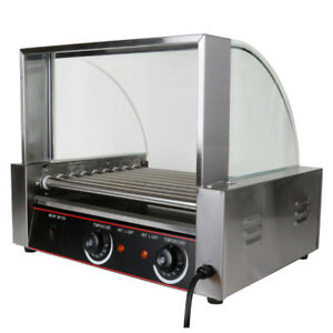 Commercial 24 Hotdog Hot Dog 9 Roller Grill Cooker Machine W cover Buffet Ce