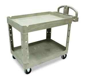 Rubbermaid Heavy Duty Utility Cart Restaurant Cleaning Supply Wheels Large Beige