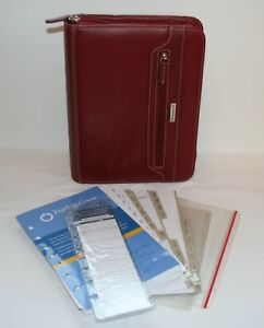 Red Franklin Covey Classic Planner Zip Organizer Faux Leather Inserts Calendar