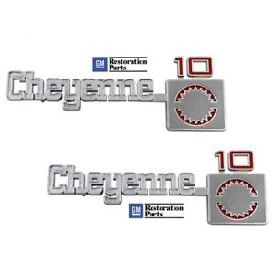 1975 1980 Chevy Cheyenne 10 Pick Up Truck Front Fender Emblem Pair Usa Made