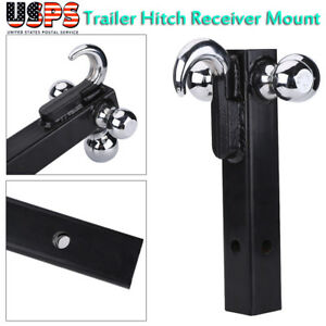 Trailer Hitch Ball Mount Tow W Hook Tri Ball 1 7 8 2 2 5 16 For 2 Receiver