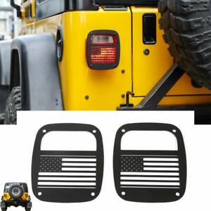 Tailight Protector Cover Us Flag Never Rust For 1997 2006 Jeep Wrangler Yj Tj 2