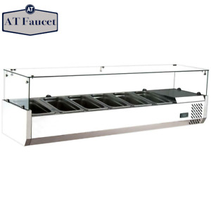 Commercial Refrigerated Countertop Salad Bar Topping Rail With Sneezeguard 59