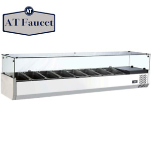 Commercial Refrigerated Countertop Salad Bar Topping Rail With Sneezeguard 70