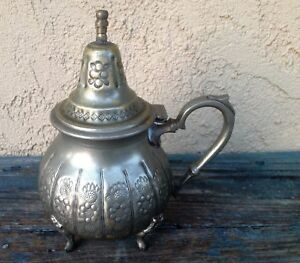 Antique Morocco Islam Middle East Decorative Embossed Metal Teapot No Spout