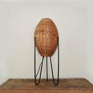 Vintage Wicker Iron Hairpin Leg Table Lamp By Paul Mayen Mid Century Modern
