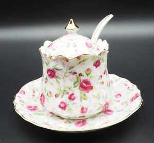 Vintage Estate Lefton S Sugar Bowl On A Saucer With Lid And Spoon In Pink Rose