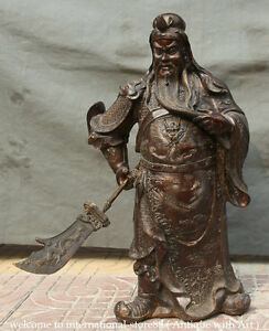 26 Old Larger Chinese Bronze Stand Guan Gong Yu Warrior God Sword Dragon Statue