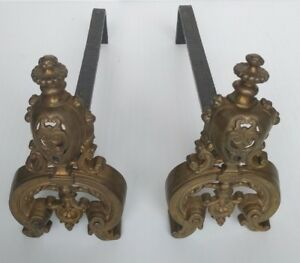 Vintage Wrought Iron Andirons W Brass Finials