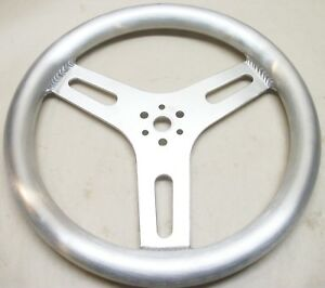 13 Brushed Aluminum Steering Wheel Flat Style Slotted 3 Spoke Center