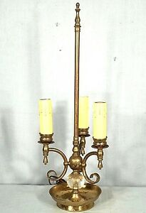 Mid Century Brass Glass 3 Arm French Bouillotte Saucer Base Lamp