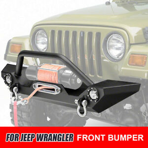 For Jeep 97 06 Black Durable Front Bumper W D Rings Winch Plate Led Accent Light