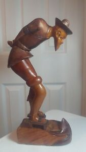 Chinese Boxwood Hand Carved Old Man And A Frog Statue Figure