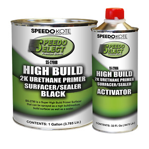 Super Fill High Build 2k Urethane Primer Black Gallon Kit Ss 2790b Ss 2790a