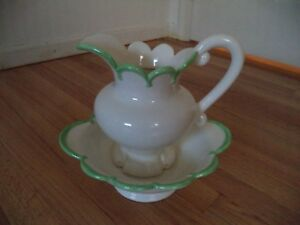 Ceramic Pitcher And Wash Basin Bowl Large 1979 Cream Green Trim Scalloped