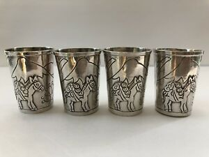 Vintage Taxco Sterling Silver 925 Etched Shot Glasses Cups 4 Pieces