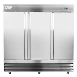 81 Solid 3 door Stainless Steel Commercial Kitchen Reach in Refrigerator