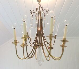 Mid Century Modern Tommi Parzinger Style 8 Arm Brass Crystal Chandelier