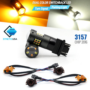 3157 4114k Switchback White Amber 33 Led Error Free Turn Signal Lamp Light Bulbs