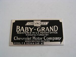 Chevrolet Baby Grand 1919 1920 1921 1922 Vin Data Plate