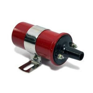 Red 12v Round Oil Filled Canister Style Electronic Ignition Coil 45 000 Volts