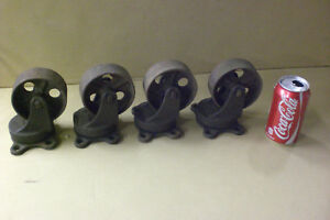 Vintage 1915 Factory Cast Iron Cart Caster Wheels Industrial Age Steampun