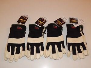 New Lot Of 4 Black Stallion Flex Hand Cowhide Leather Work Gloves Sizes M Or L